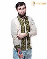 Мужская вязаная рубашка Крестики зеленые, фото 1