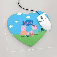 Коврик для мыши Сердце Свинка Пеппа, Peppa №2
