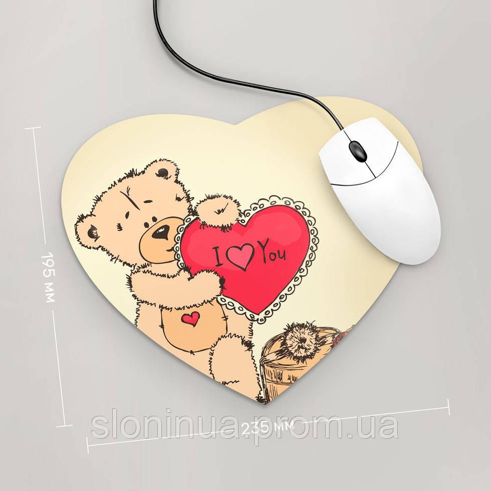 Коврик для мыши Сердце Тедди, I Love You
