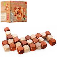 Деревянная игра-головоломка Кубик головоломка, змейка, в коробке