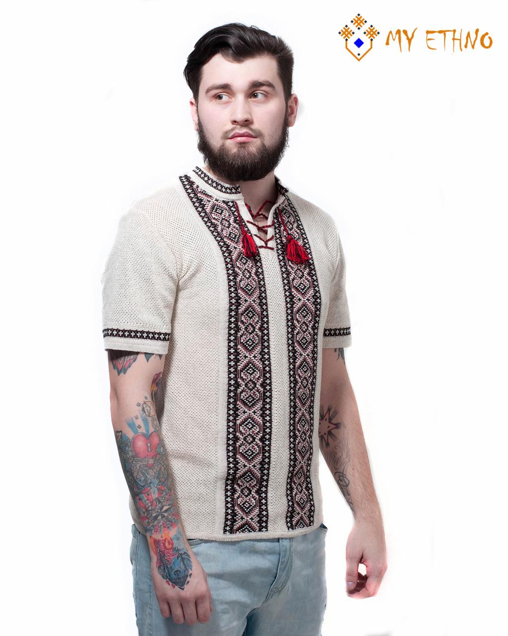 Мужская вязаная рубашка Крестики черно-красные (короткий рукав)