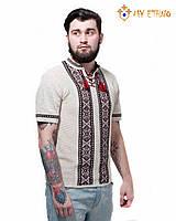 Мужская вязаная рубашка Крестики черно-красные (короткий рукав), фото 1
