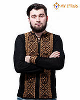 Мужская вязаная рубашка Влад коричневый (х/б), фото 1