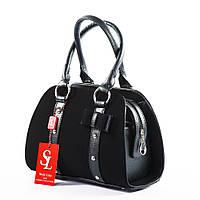 Замшевая женская черная сумка бочёнок art. 1339ez