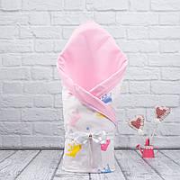 """Летний конверт-одеяло """"Valleri"""" короны (розовый)"""