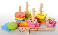 Деревянная игрушка развивающая Геометрика рыбалка  с геометрическими фигурами 40шт