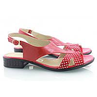 Красные босоножки в белый горошек на невысоком каблуке , фото 1