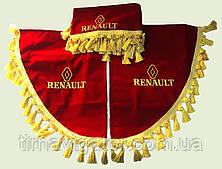 Шторка на лобовое стекло с уголками красная RENAULT