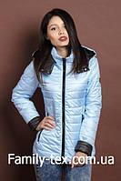 Женская молодежная демисезонная куртка, светло голубой с черным, S, M, L, XL размеры