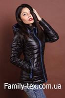 Женская молодежная демисезонная куртка, черный с синим, S, M, L, XL размеры
