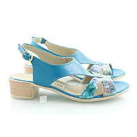 Голубые стильные босоножки на светлой подошве с принтом спереди, фото 1