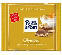 Шоколад Ritter Sport OLYMPIA (ЙОГУРТ, МЕД, ОРЕХ) Германия 100г