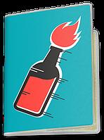 Обложка для паспорта  Огненный Коктейль (Чашка с украинской символикой,)