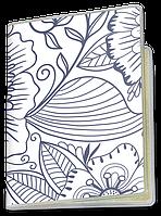 Обложка для паспорта  Синие Цветы (растения, цветы, флора, узоры)