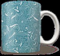 Чашка, Кружка Бирюзовые Цветы (растения, цветы, флора, узоры)