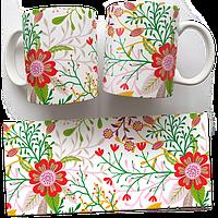 Чашка, Кружка Красные Маки (растения, цветы, флора, узоры)