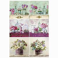Бумага для декупажа 21х30 см Шесть цветочных натюрмортов