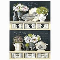 Бумага для декупажа 21х30 см Белые цветы на комоде