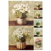 Бумага для декупажа 21х30 см Белые цветы в ведерках