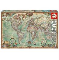 Пазл  Минипазл Политическая карта мира 1000 элементов, EDUCA
