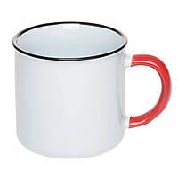 Чашка Ретро керамическая с синим ободком и красной ручкой, 305 мл
