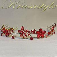 Золотая тиара с красными камнями Цветы