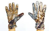 Перчатки спортивные теплые флисовые  (флис, PL закр. пальцы, р-р M-XL, камуфляж Realtree