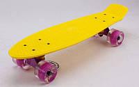 Скейтборд пластиковый Penny LED WHEELS FISH 22in со светящимися колесами  (желтый-фиолет)