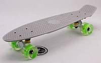 Скейтборд пластиковый Penny LED WHEELS FISH 22in со светящимися колесами  (серый-сер-салат)