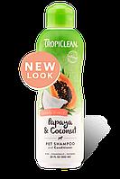 Tropiclean шампунь-кондиционер с экстрактами папайи, кокоса и витамина Е для собак и котов 335 мл (202504)