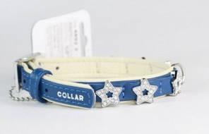 """CoLLar Шкіряний нашийник з прикрасами """"Зірочка"""" для собак (довжина 27-36 см, ширина - 15 мм) (4892)"""