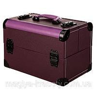 Профессиональный алюминиевый кейс для косметики, фиолетовый