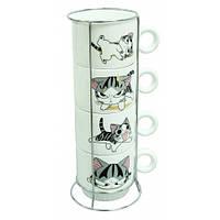 Набор чашек на подставке Веселые коты, 4 шт. 250мл.