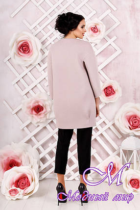 Стильное женское демисезонное пальто розового цвета  (р. 44-54) арт. 1000 Тон 2, фото 2