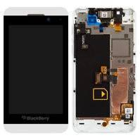 Дисплей для мобильного телефона Blackberry Z10, белый, с рамкой, с передней панелью, с сенсорным экраном