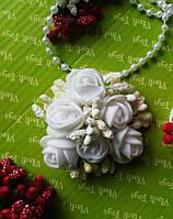 Бантик белый на резинке Розы