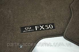 Infiniti FX50 2009-15 коврики в салон велюровые коричневые передние задние Новые Оригинал