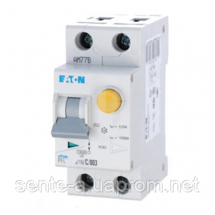 Дифавтомат 10A 30мА 6кА 2 полюси уставка C тип АС PFL6-10/1N/C/003 Eaton (Moeller)