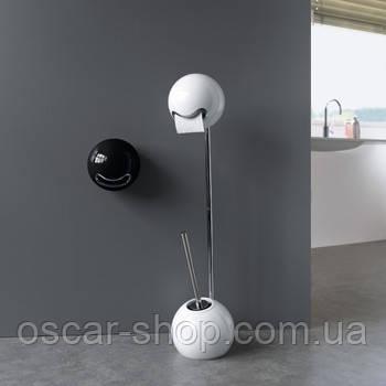 Держатель для туалетной бумаги с щеткой для унитаза напольный Spirella BOWL белый, черный, киви, оранжевый
