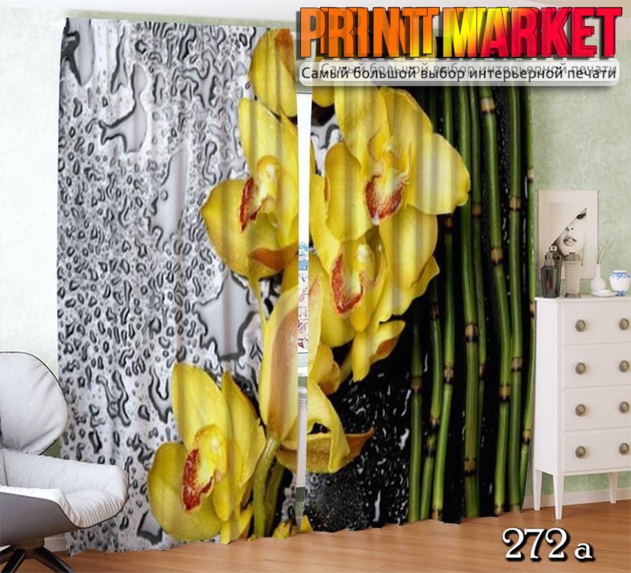 Фотошторы желтая орхидея в каплях дождя
