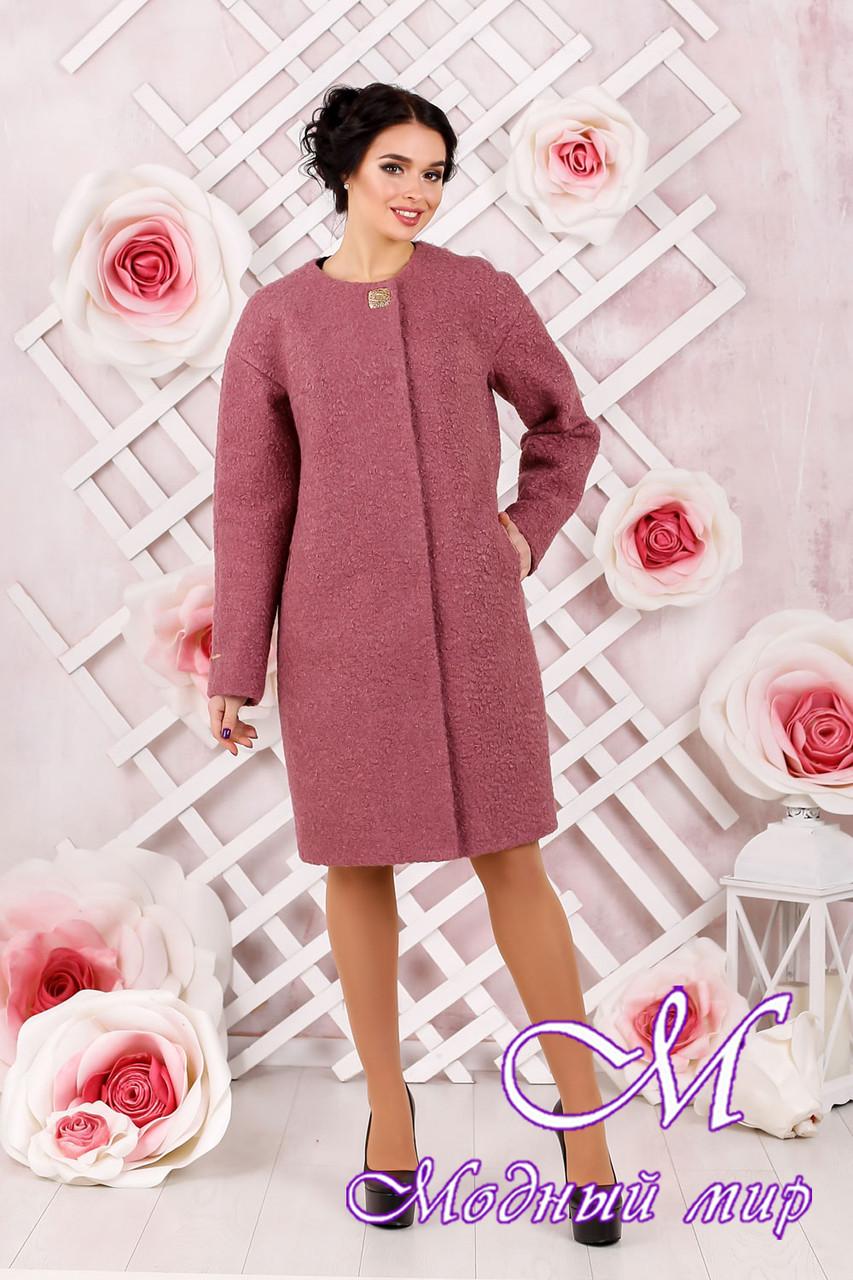 Утонченное женское демисезонное пальто темно-розового цвета батал (р. 44-62) арт. 1018 Тон 44
