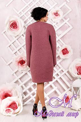 Утонченное женское демисезонное пальто темно-розового цвета батал (р. 44-62) арт. 1018 Тон 44, фото 2