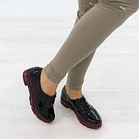 Туфли на низком ходу на шнуровке черного цвета, фото 1