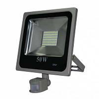 Светодиодный прожектор с датчиком движения и сумерек Ledmax 50W XPS SMD IP-66 холодный свет