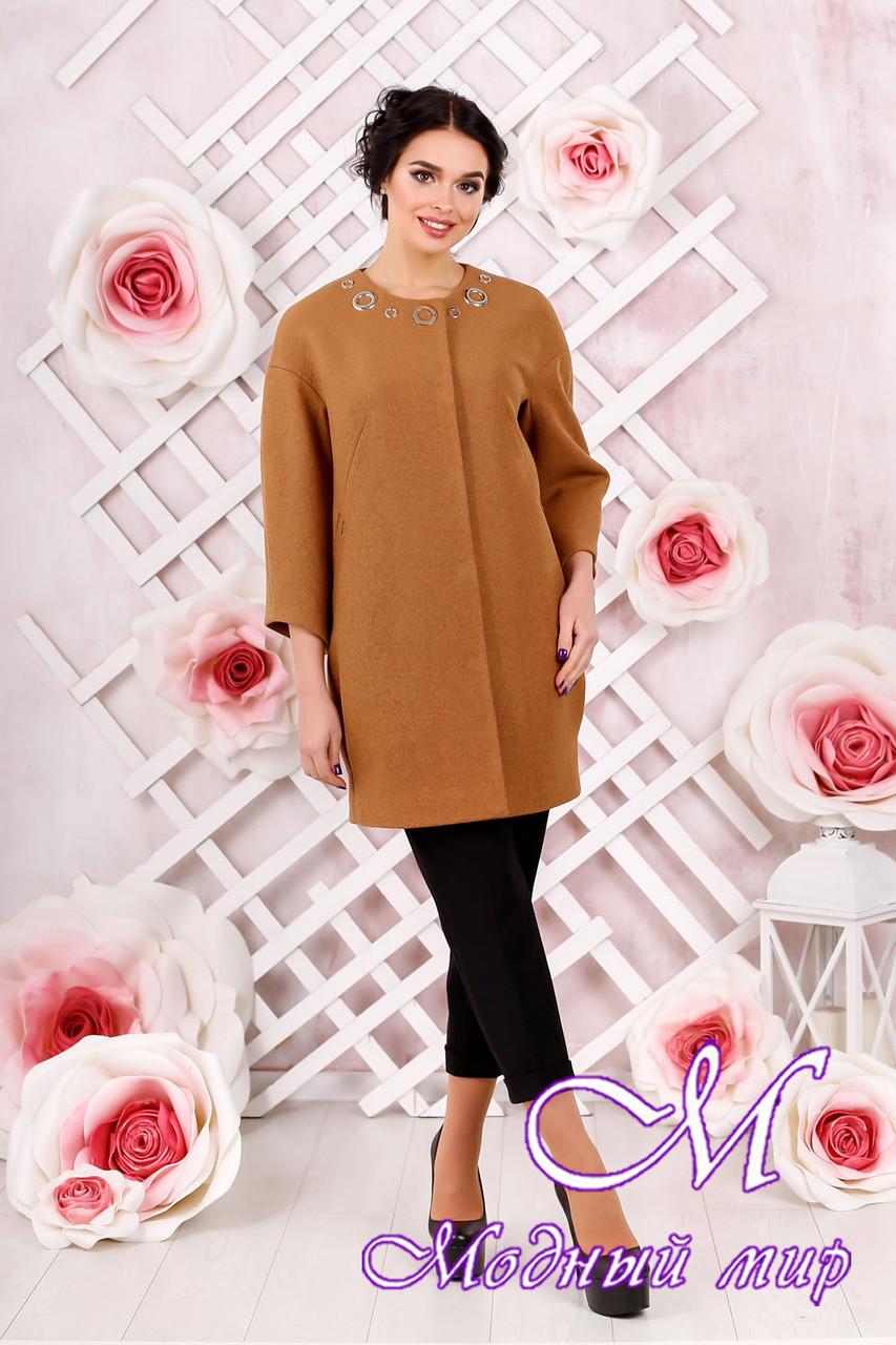 Стильное женское демисезонное пальто светло-коричневого цвета  (р. 44-54) арт. 1000 Тон 7