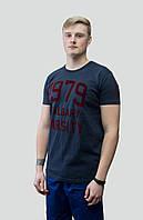 """Мужская хлопковая футболка с принтом """"1979"""", темно синяя. р. L, XL."""