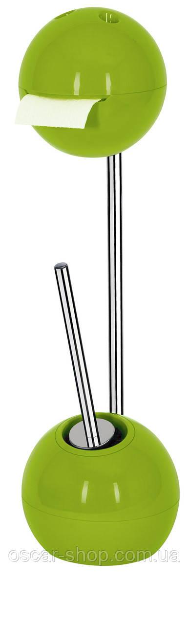 Держатель для туалетной бумаги с щеткой для унитаза напольный Spirella BOWL, киви
