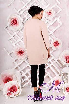 Стильное женское демисезонное пальто персикового цвета  (р. 44-54) арт. 1000 Тон 31, фото 2