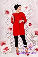 Стильное женское демисезонное пальто красного цвета  (р. 44-54) арт. 1000 Тон 49