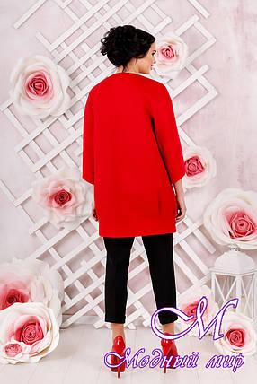 Стильное женское демисезонное пальто красного цвета  (р. 44-54) арт. 1000 Тон 49, фото 2